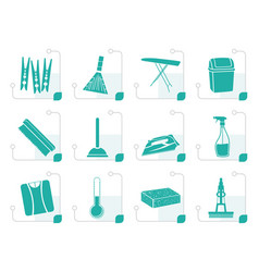 stylized home objects and tools icons vector image vector image