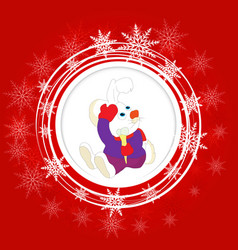 christmas greeting card with rabbit vector image