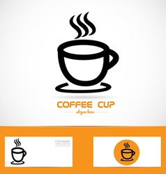 Coffe cup orange logo vector image vector image