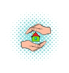 House in hands icon comics style vector image