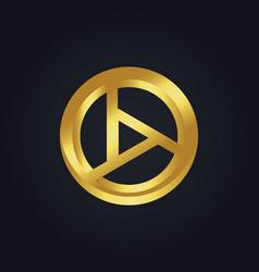 round shape gold technology logo vector image vector image