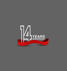 14 years anniversary line style white color vector
