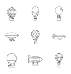 airship balloons icon set outline style vector image