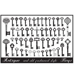 antique keys big collection vector image
