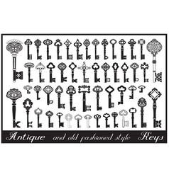 Antique keys big collection vector