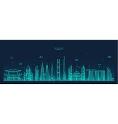 Asia skyline Trendy line art vector image