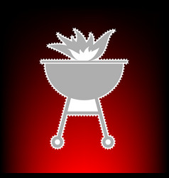 barbecue with fire vector image