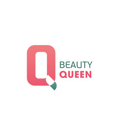 Beauty queen pink q letter icon vector