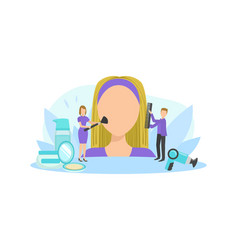 big female faceless head and tiny people vector image