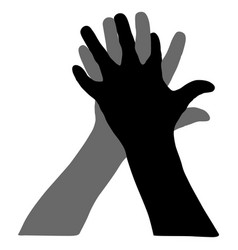 black silhouette of hands on white background vector image