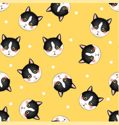 Black white cat on yellow background vector