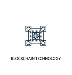blockchain technology concept line icon simple vector image