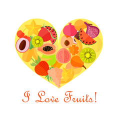 bright fruits in the heart shape vector image