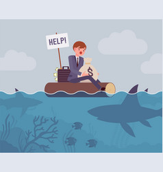 business attacked by big shark vector image