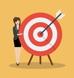 Business woman pointing to the big target vector image vector image