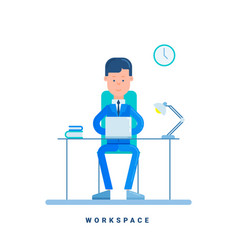 businessman working at his desk business concept vector image