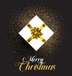 christmas gift on glitter background vector image