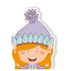 color image with half body gnome blonde girl vector image