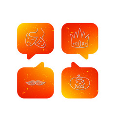 Crown pumpkin and theater masks icons vector