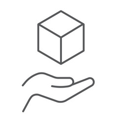 Cube in hands thin line icon arm and cube hands vector