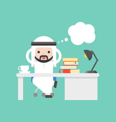 Cute arab saudi businessman thinking at office vector