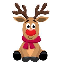 cute cartoon red nosed reindeer toy rudolph vector image