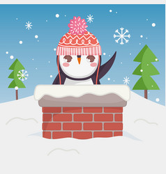 cute penguin waving hand in chimney merry vector image