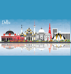 delhi india city skyline with color buildings vector image