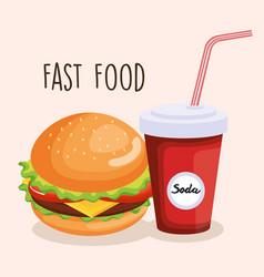 delicious big burger and soda vector image