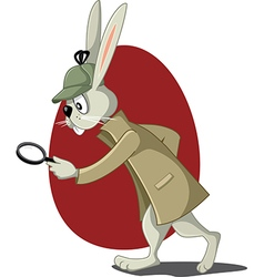 Detective Rabbit with Magnifying Glass Cart vector image
