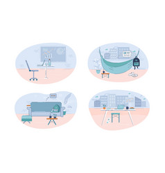 different workplaces semi flat vector image
