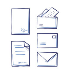 documents with signature envelopes and folders vector image
