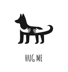 dog with hand embrace love preserve dogs concept vector image