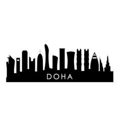 Doha skyline silhouette black doha city design vector
