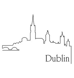 dublin city one line drawing background vector image