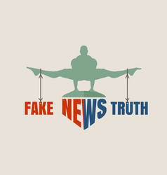 fake and truth concept of the scales vector image