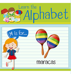 Flashcard letter M is for maracas vector image