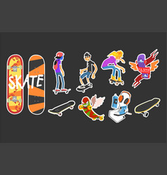 Flat set of colored skateboarding icons vector