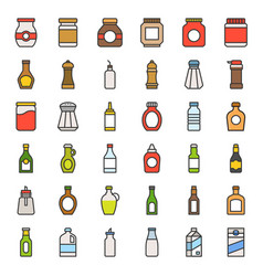 food and drink container icon set filled outline vector image
