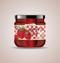 glass jar mockup raspberry package design 4 vector image