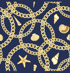 golden chains and seashell seamless pattern vector image