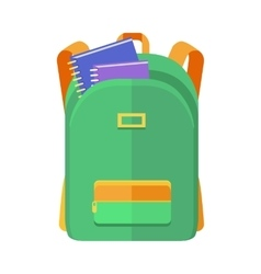 Green Backpack Schoolbag Icon with Notebooks vector image