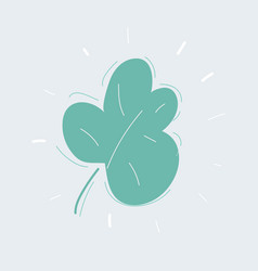 green hand drawn leave on white background vector image