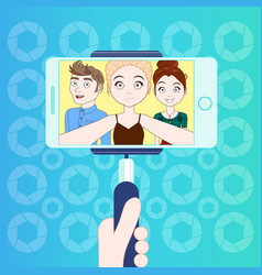 group of young people taking selfie with smart vector image