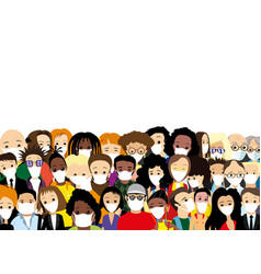 Group people in protective masks vector