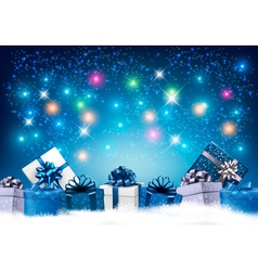 Happy New Year background with colorful presents vector image