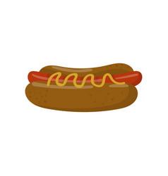 hot dog with mustard cartoon vector image