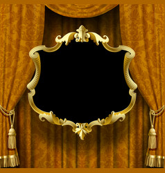 image of yellow-brown curtain with baroque vector image