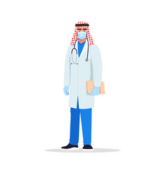 Infectious disease doctor semi flat rgb color vector
