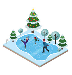 isometric isolated happy family skating cross vector image